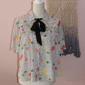 Zara Collar Polka dots fish Print Blouse